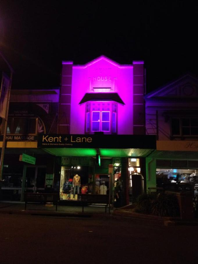 Pink Shop Facade Lighting