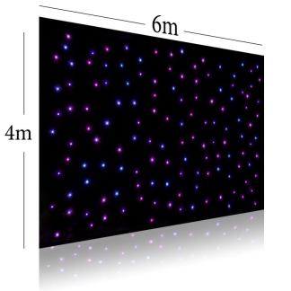 6m x 4m Black Star Curtain